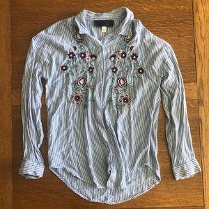 blue Francesca's embroidered shirt